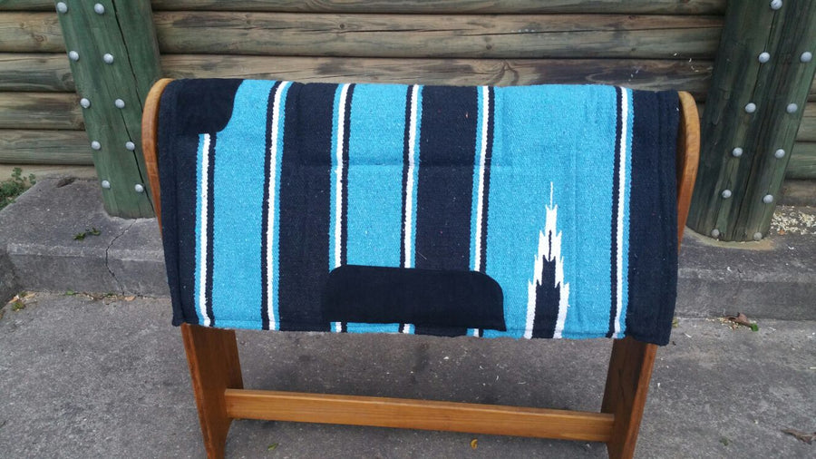 Blue- Navajo Print – Padded  Saddle Pad With Fleece Linning