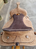 Natural finish- Handcarved - Leather Western Saddle