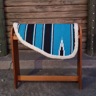 Blue- Navajo Print – Padded Shape Saddle Pad With Fleece Linning