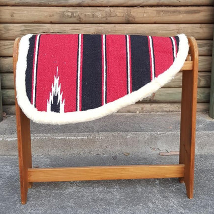 Red-Navajo Print–Padded Shape Saddle Pad With Fleece Linning