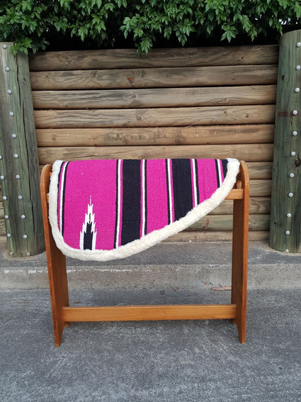 Pink-Navajo Print–Padded Shape Saddle Pad With Fleece Linning