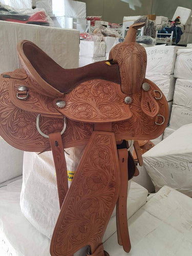 Light oil- Natural finish -  Ornate hand carved -Show / Pleasure- Leather Western Saddle