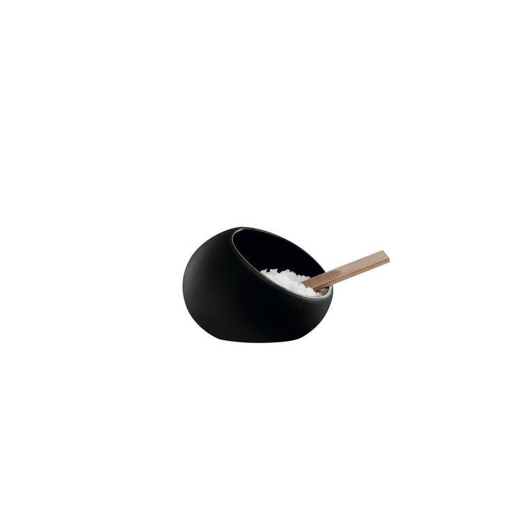 Black Salt Cellar w/Oak Spoon