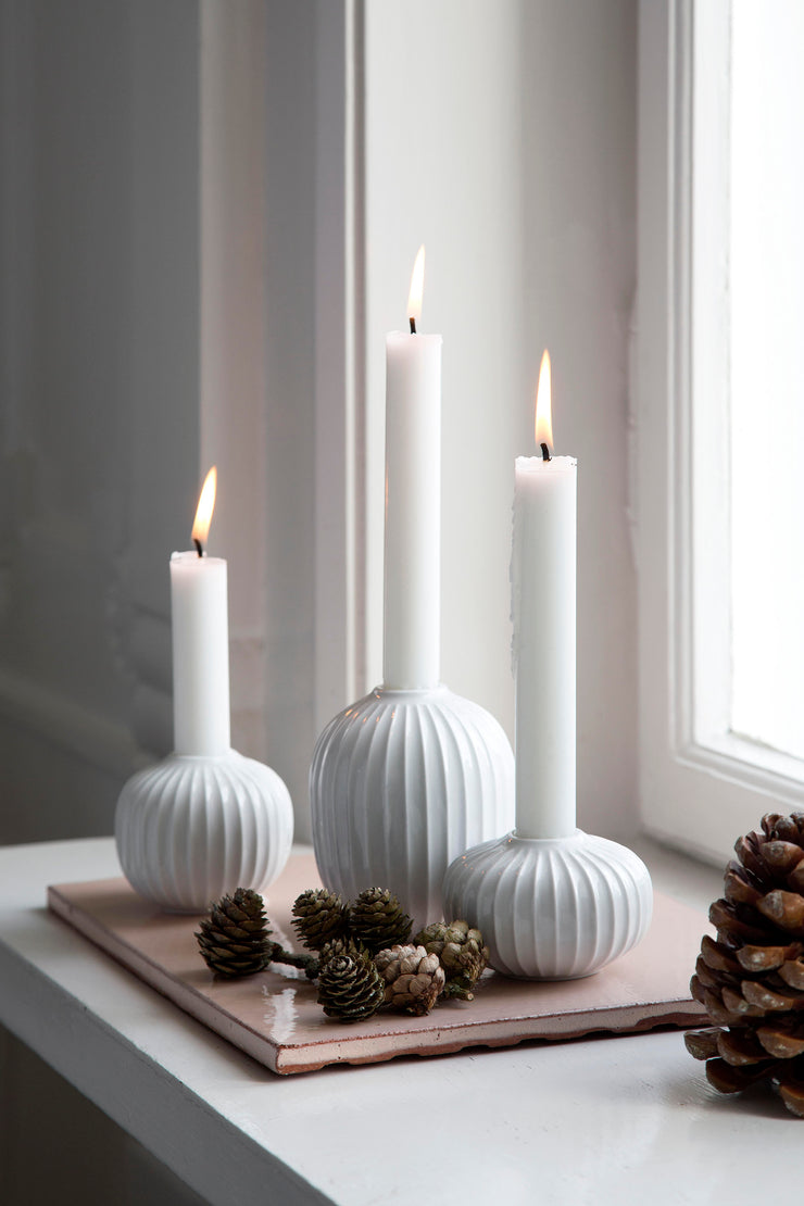 "Kähler Hammershøi Candle Holder, White, 3.2"", 3 Pcs."