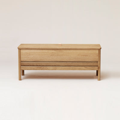 Form & Refine A Line Storage Bench, White Oak