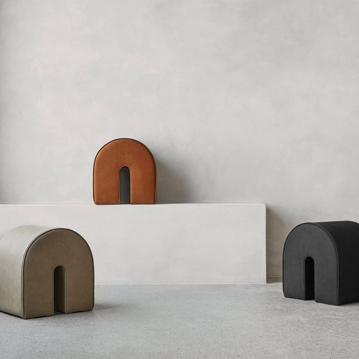 Kristina dam studio arch leather puf collection danish design high quality