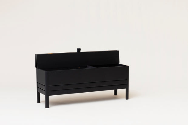 Form & Refine A Line Storage Bench, Black-stained