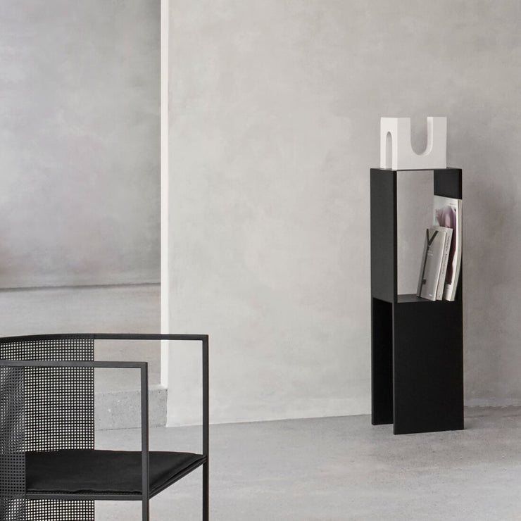 Corner entryway table tall for magazines and art Kristina Dam Studio