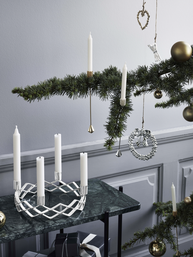 Advent Candle Holder, Silver