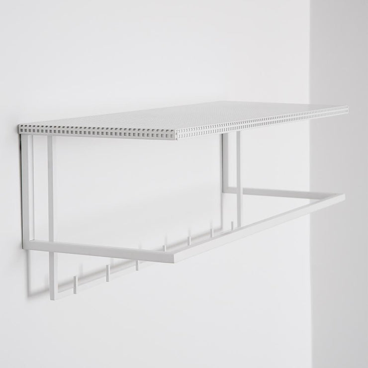 kristina dam studio white steel coat rack with shelf grid coat hanger
