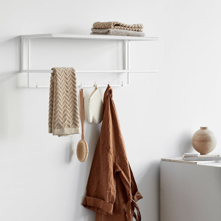 kristina dam studio white steel coat rack with shelf