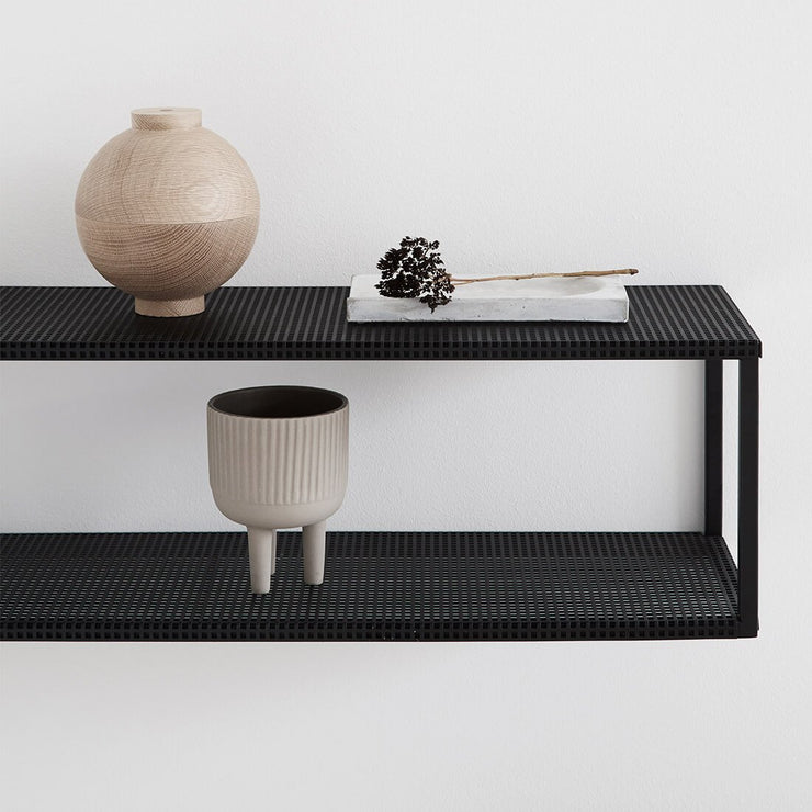 floating black steel shelf danish kristina dam studio