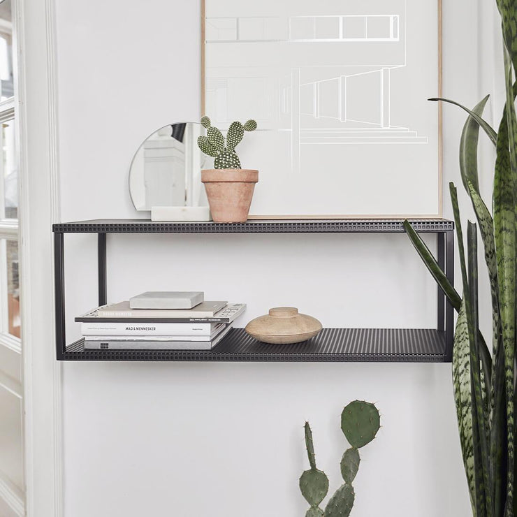 Black griddouble wall steel shelf  kristina dam studio grid wall shelf