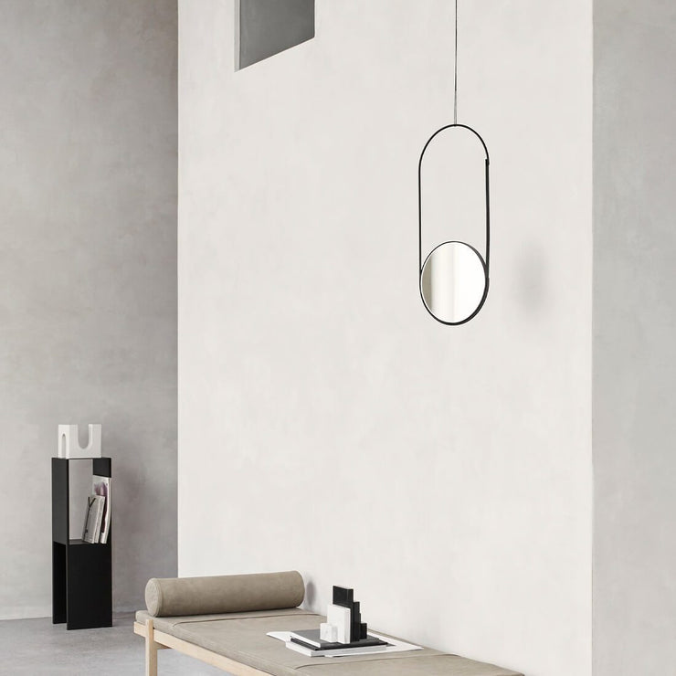 hanging mirror in black by KDS