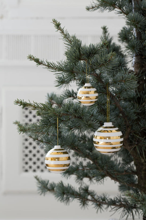 Kähler Omaggio Christmas Baubles, Gold 3 Pcs.