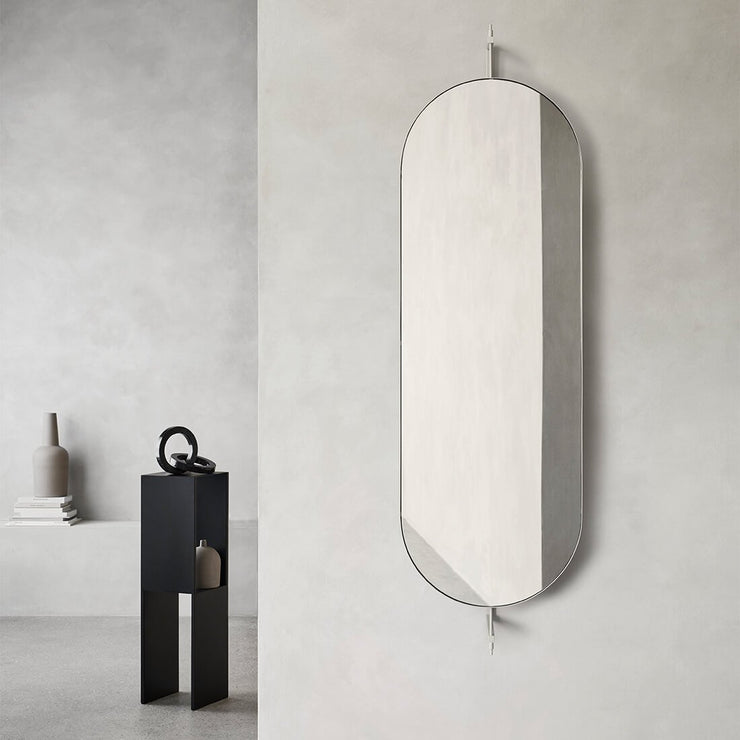 full size beige frame mirror with hanger on the back kristina dam studio