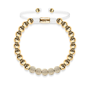 18k Gold | Crystal Pave Ball Bracelet | White