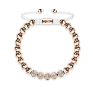 18k Rose Gold | Crystal Pave Ball Bracelet | White