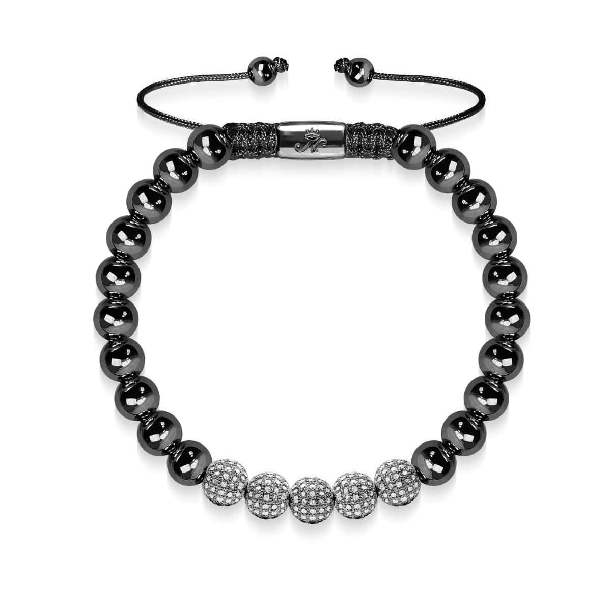 Gunmetal | Crystal Pave Ball Bracelet| Black
