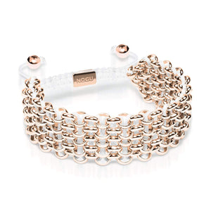 Supreme Kismet Links Bracelet | 18k Rose Gold | White | Deluxe | Engravable