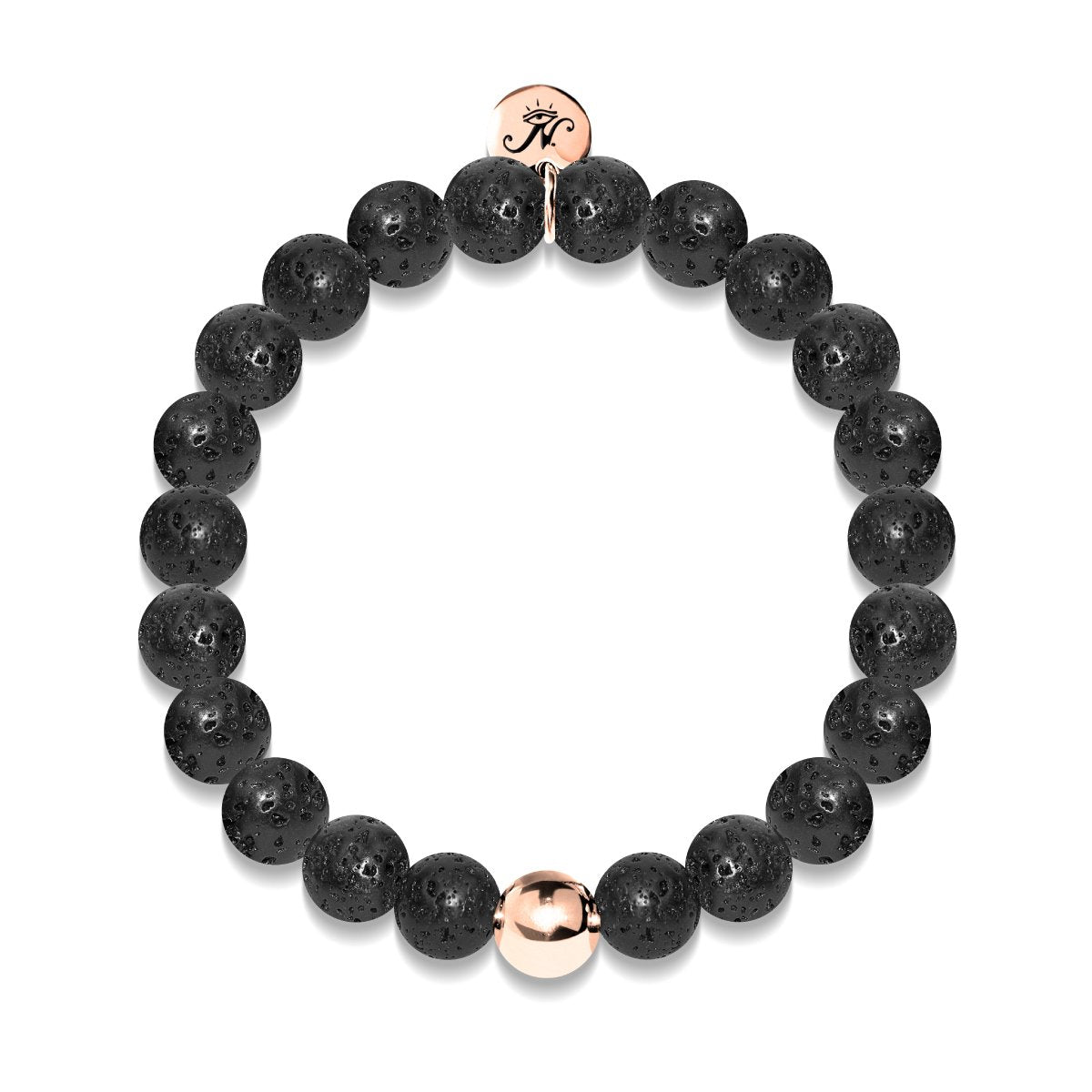 Pompeii | Lava Rock | 18k Rose Gold | Beaded Bracelet | Engravable