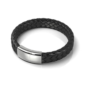 Silver | Black Leather Engravable Bracelet | Deluxe
