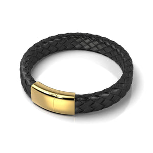 18k Gold | Black Leather Engravable Bracelet | Deluxe