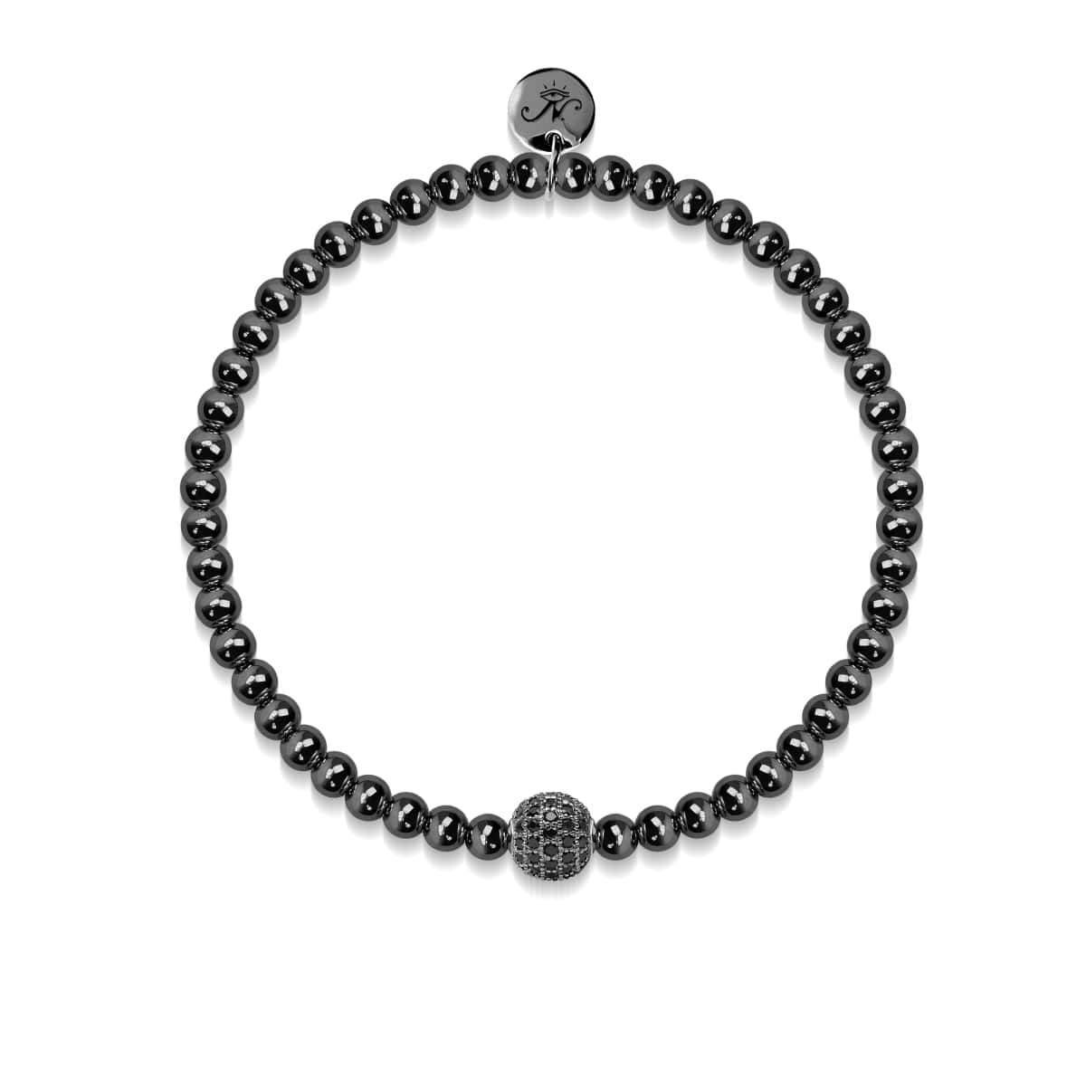 Glamorous | Gunmetal | Black Cubic Zirconia Crystals | Men's Expression Bracelet | Engravable