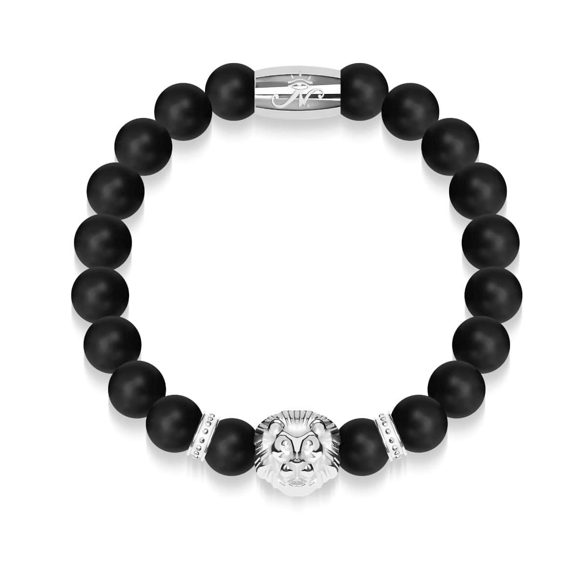 Silver Lion | Matte Black Agate | Kingdom Bead Bracelet | Engravable