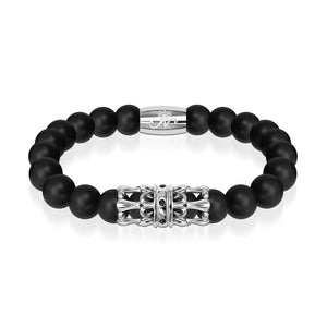 Silver Crown | Matte Black Agate | Kingdom Bead Bracelet | Engravable