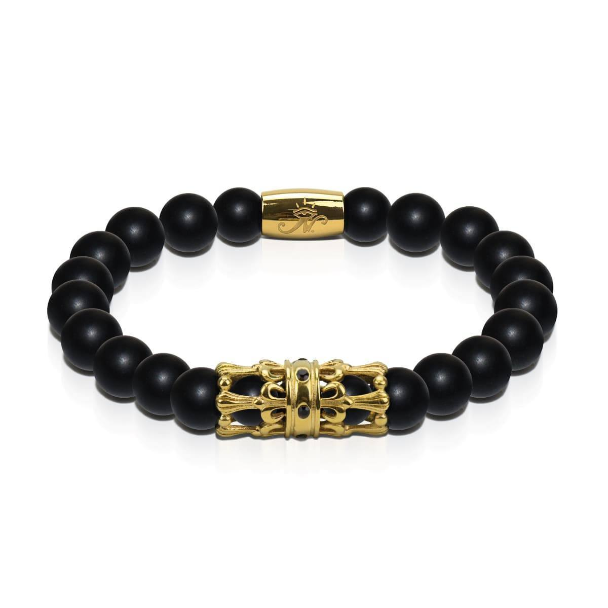 18k Gold Crown | Matte Black Agate | Men's Kingdom Bead Bracelet | Engravable