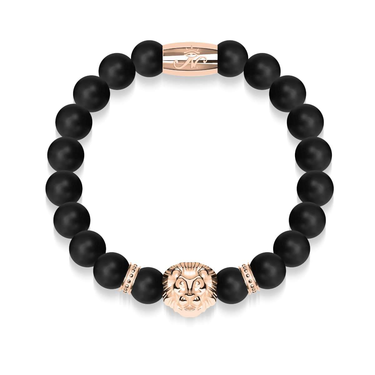 18k Rose Gold Lion | Matte Black Agate | Kingdom Bead Bracelet | Engravable