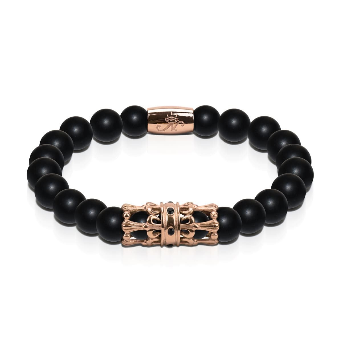 18k Rose Gold Crown | Matte Black Agate | Men's Kingdom Bead Bracelet | Engravable