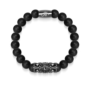 Gunmetal Crown | Matte Black Agate | Kingdom Bead Bracelet | Engravable