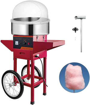 VBENLEM Cotton Candy Machine Commercial with Bubble Cover Shield and Cart Cotton Candy Machine Candy Floss Maker Red 1030W Electric Cotton Candy Maker Stainless Steel for Various Parties