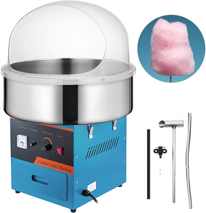 VBENLEM Electric Candy Floss Maker With Bubble Cover Shield 20.5 Inch Cotton Candy Machine 1030W for Various Parties (Blue)