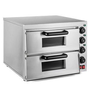 ALD-PO-Double Double Pizza Oven | Electric Pizza Maker | Separately Operated Thermostats | Stainless Steel | 3kW