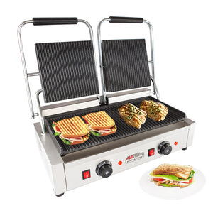 ALD-692 Double Panini Press | Sandwich Maker | Cast-Iron Ribbed Plates | Adjustable Control | Nonstick