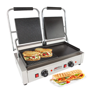 ALD-691 Double Panini Press | Half-Ribbed & Half-Flat Sandwich Maker | Cast-Iron Plates | Nonstick Coating