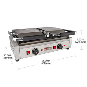 Double Panini Press | Sandwich Maker Machine | Cast-Iron Ribbed Plates | Adjustable Control | Nonstick