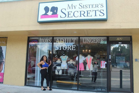 Kahlilah Dawkins owner of My Sister's Secrets standing in front of store