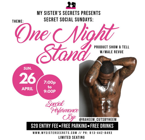 My Sister's Secrets male revue info with stripper raheem_cutsbyheem