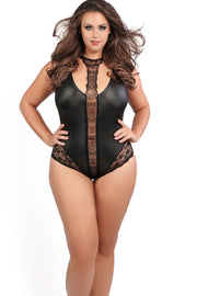 plus size black lace lingerie bodysuit