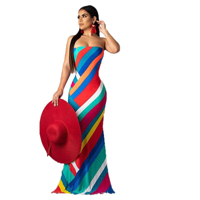 Women colorful stripe design slinky mermaid trendy dress - Blindly Shop