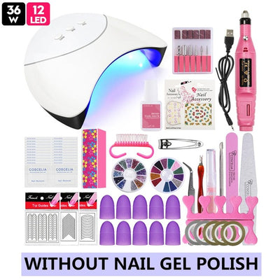 Pro Complete Manicure Nail Art Kit With UV Nail Drier, Nail Dril And Nail Gel - Blindly Shop