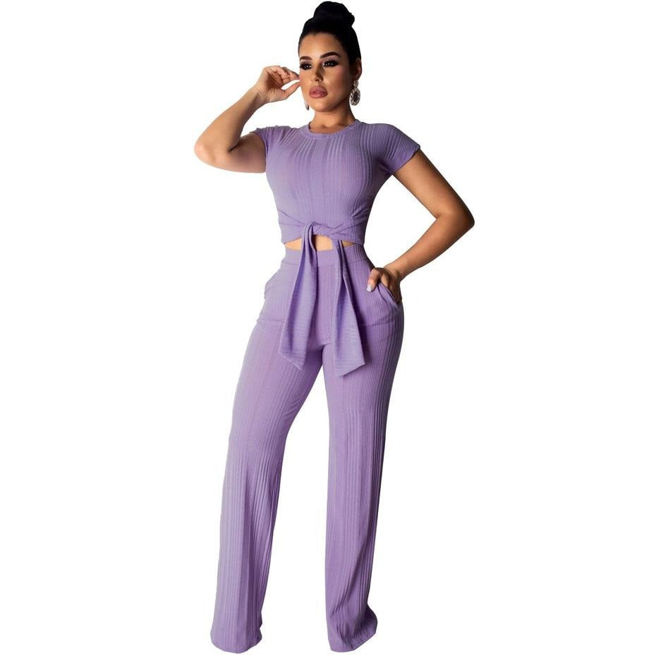 Sexy Crop Top and Pants Two Piece Matching Sets - Blindly Shop