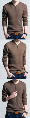 Men Casual V-Neck Pullover Slim Fit Long Sleeve Sweaters