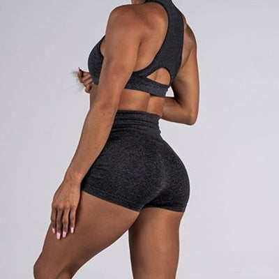 Women seamless 2 piece  gym yoga / workout crop top & Shorts set - Blindly Shop
