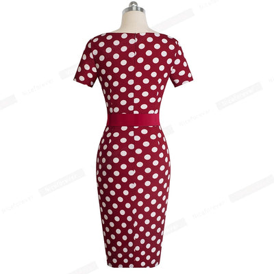 Elegant Retro Polka Dots with Stripes  Bodycon Women Dress - Blindly Shop