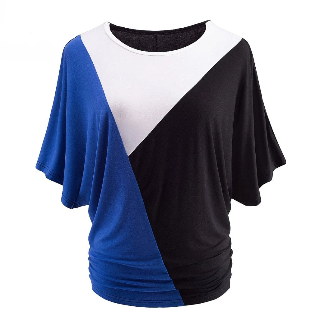 Multi contrast Casual Batwing Sleeve Loose T-shirt/Tee top - Blindly Shop